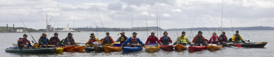The All Ireland Kayak Angling Club fishing on the sea